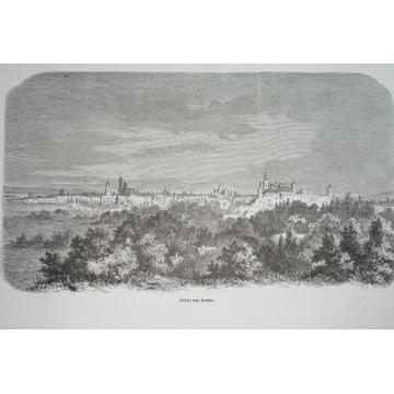 1870 KRAKÓW panorama Galicja MAŁOPOLSKA ORYGINAŁ