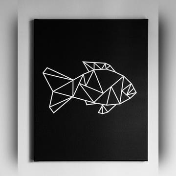Obraz geometryczny na płótnie. Ręcznie malowany.
