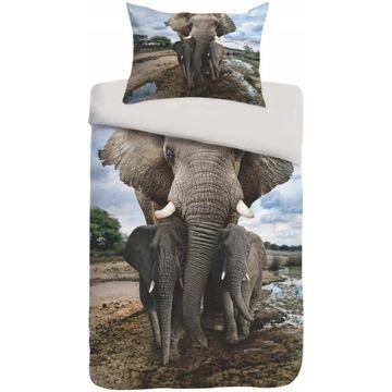 SOGNAMO POŚCIEL 135 x200 cm Z MOTYWEM SŁONI słonie