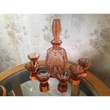 Karafka Kryształowa z Kieliszkami Art-Deco