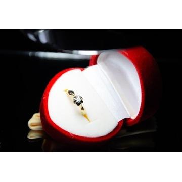 Pierścionek złoty brylant 0,08ct