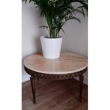 Piękny stolik kawowy francuski z marmurem