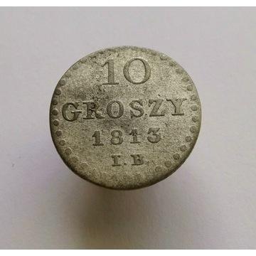 10 groszy 1813r, Księstwo Warszawskie, rzadkie.