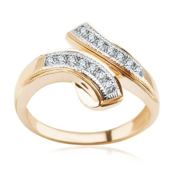 Złoty pierścionek z diamentami + zawieszka