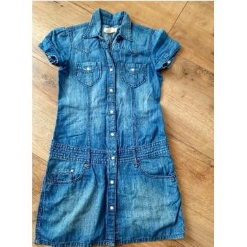 NOW jeansowa sukienka szmizjerka 152
