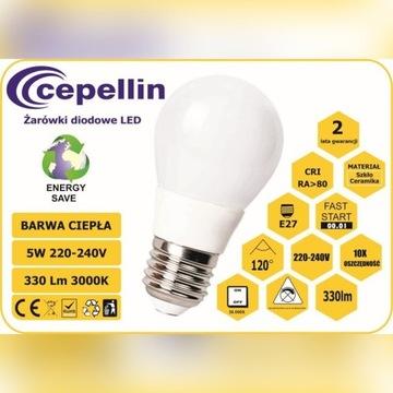 Żarówka LED A50-CC 5W. 2700K, 330LM, Gwint  E27