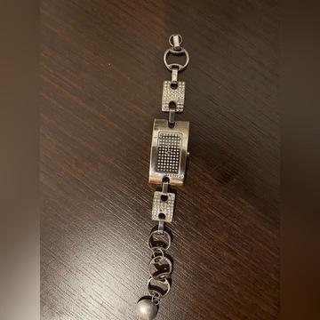 Srebrny zegarek DKNY z krzystałami Swarovskiego