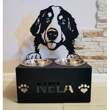 Personalizowany Stojak miski dla psa Berneńczyk