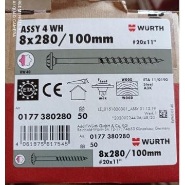 Wkręty Wurth ciesielskie 8x280/100 samowiertne