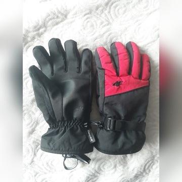 Rękawice Narciarskie 4F Męskie Czarno Czerwone