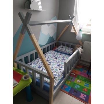 Łóżko dziecięce sosnowe tipi 80x160 z 2 szufladami