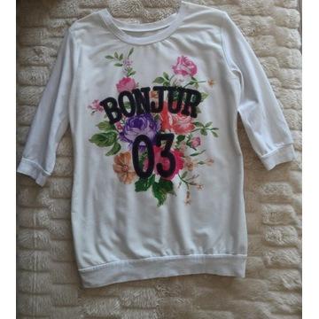 Bluzka dresowa biała z nadrukiem PRINT Bonjur S