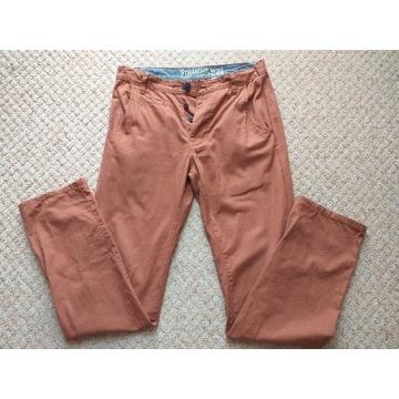 NEW LOOK długie spodnie brązowe chinosy W32 L34