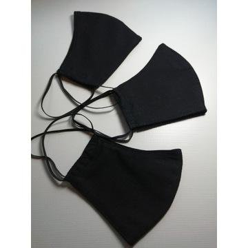 Maseczki Bawełniane Czarne 3szt