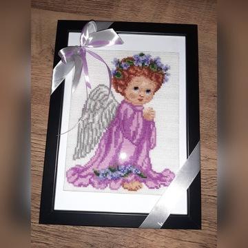 Aniołek haft krzyzykowy prezent komunia chrzest