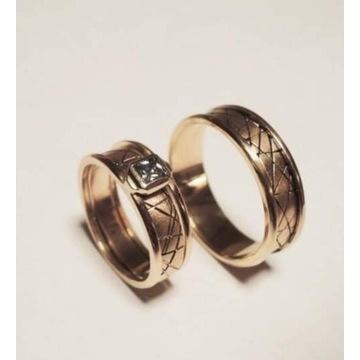 Unikatowe obrączki ślubne z różowego złota