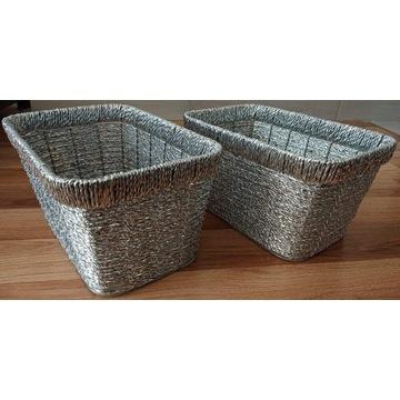 Pudełko koszyk pojemnik 2 sztuki srebrne plecione