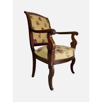 Wygodny fotel gobelinowy empire orzech Francja XIX