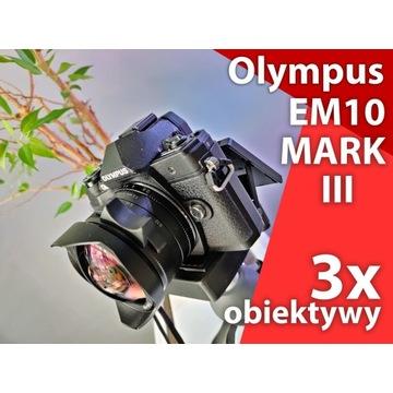 Olympus EM10 Mark III + 3 Obiektywy + GWARANCJA
