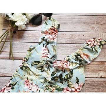 Kostium kąpielowy w kwiaty falbanki NOWY r. S/M