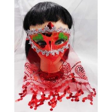 Czerwona Maska z Woalką ARABSKA KSIĘŻNICZKA