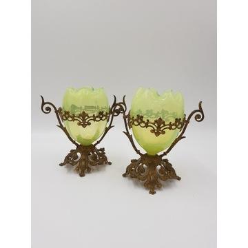 Komplet wazonów XIXw. Szkło. Brąz złocony