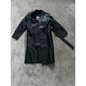 Płaszcz skórzany, czarny, kurtka, skóra