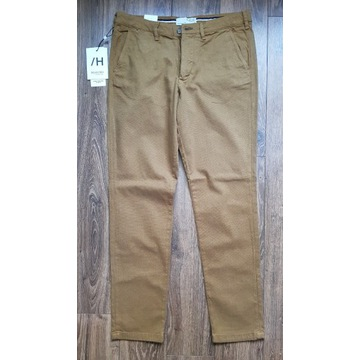 spodnie Selected Homme Miles 34/32 brązowe bawełna
