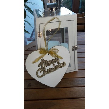 Zawieszka serce drewniane marry christmas złote