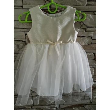 Biało srebrna sukienka chrzest wesele komunia r.86