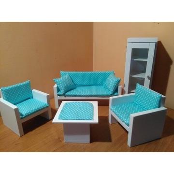 Salon dla lalek Sofa,2xFotel,Stolik,Witryna