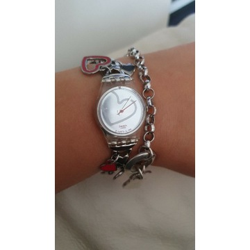 swatch, kruk charms, pandora ,zegarek, bransoletka