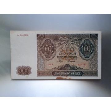 100 zł 1941 r. ser . A-9002730