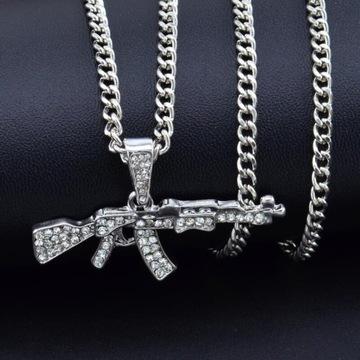Naszyjnik srebrny AK-47