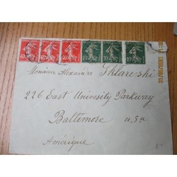 koperta FRANCJA ZNACZKI X6  1927