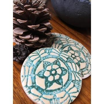 Podkładki pod kubek ceramiczne rękodzieło handmade