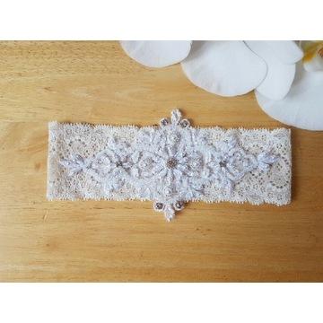 Podwiązka ślubna biała z elastycznej koronki