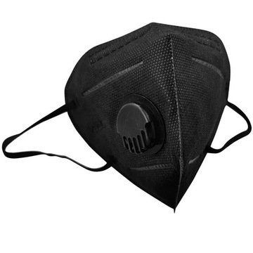10 x Maska Maseczka CZARNA z ZAWORKIEM N95 FFP2