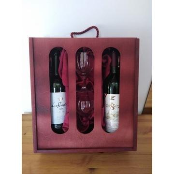 Elegancki prezent drewniane etui na 2 butelki wina