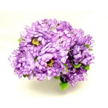 CHRYZANTEMA sztuczne kwiaty BUKIET 9szt. fiolet