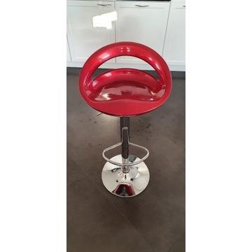 2x Hoker, krzesło barowe, czerwone ze srebrną nogą