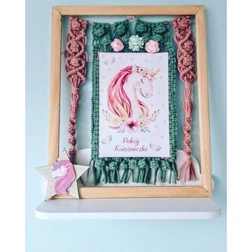 Makrama obraz dekoracja jednorożec