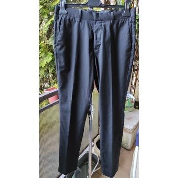 Długie czarne spodnie garniturowe H&M S 44
