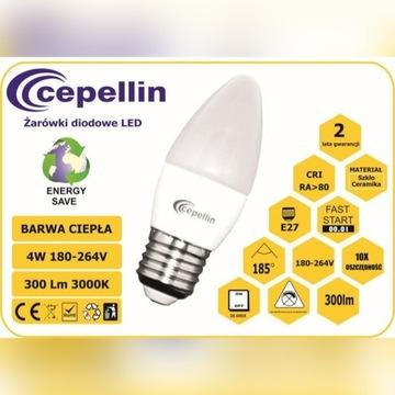 Żarówka LED C38 4W. 2700K, 300LM, Gwint  E27