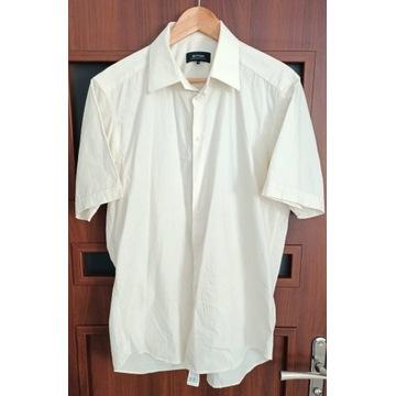 Koszula męska biała, krótki rękaw, rozmiar 42