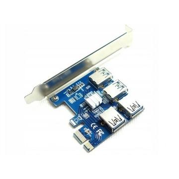 Adapter Riser PCI-E 1x na 4x USB 3.0 do koparki