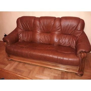 Zestaw wypoczynkowy skórzany KANAPA i fotel