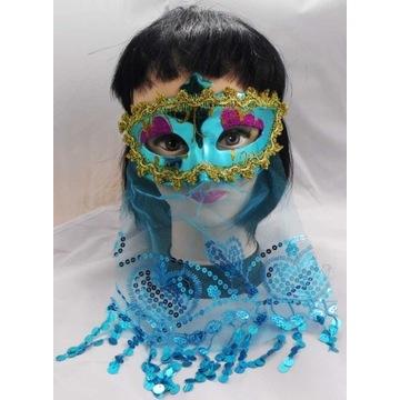 Niebieska Maska z Woalką ARABSKA KSIĘŻNICZK