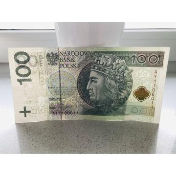 Banknot 100 zł, RADAR z serii AY1106011