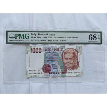 Włochy 1000 lirów, 1990, grading PMG 68 EPQ!